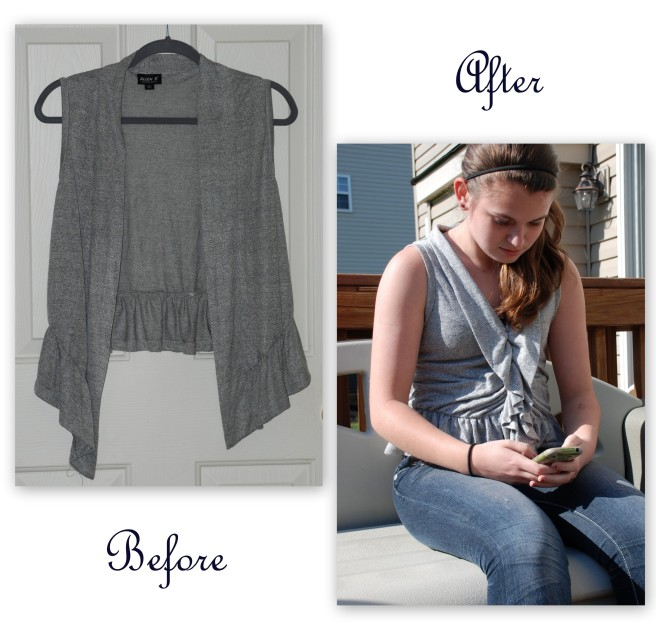 Refashion a Vest Into a Feminine Ruffle Shirt