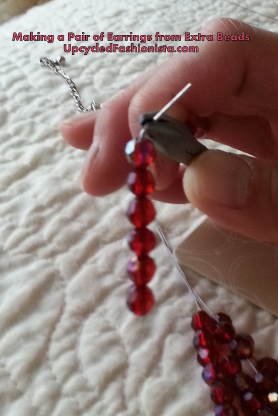 Making a pair of earrings from extra beads #upcycle #refashion #sewing