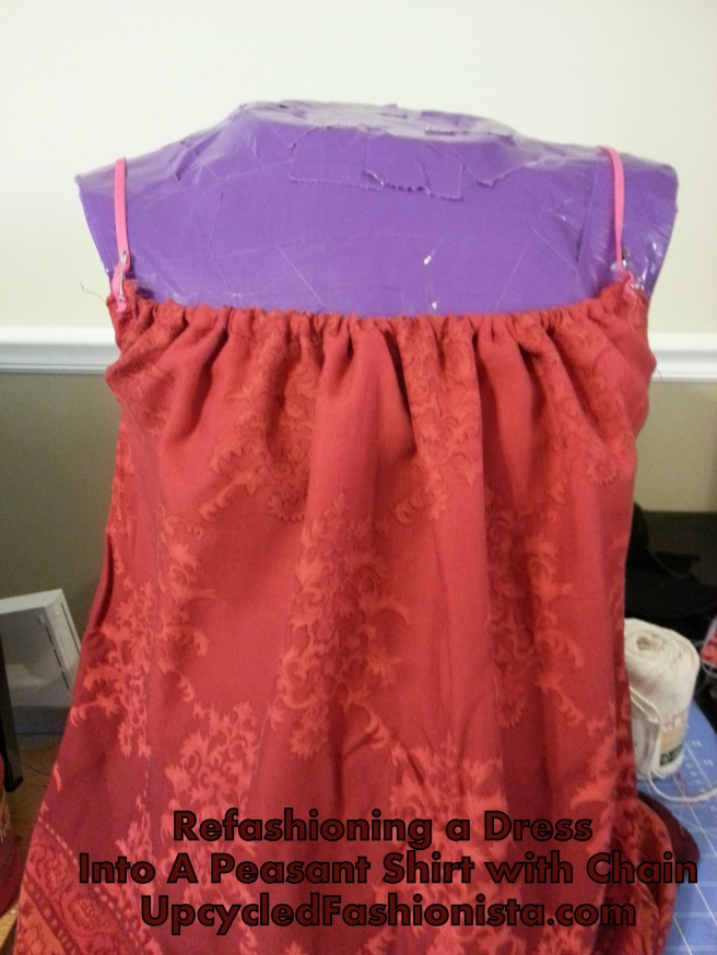 Refashioning a peasant top from a dress #upcycle #refashion #sewing http://www.upcycledfashionista.com
