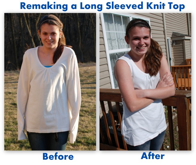 Remaking a long sleeved knit shirt into a short sleeve summer top #sewing #upcycle #refashion http://www.upcycledfashionista.com