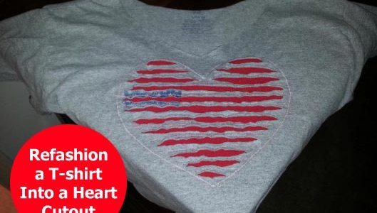 Refashion a faded t-shirt into a Valentine's Day cutout heart