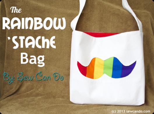 Rainbow Stache Bag