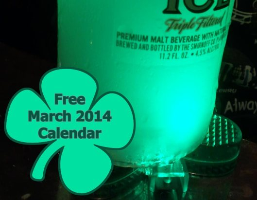 Free St. Patty's Day Calendar - March 2014