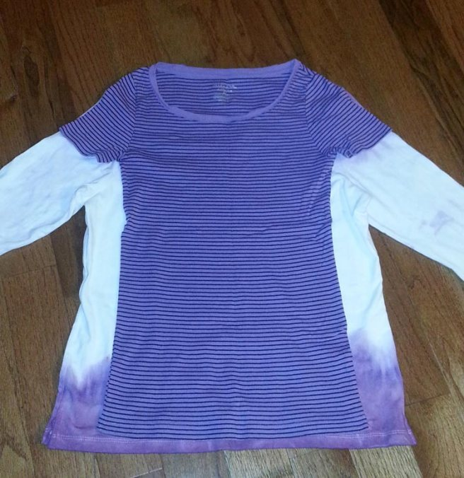 Remaking a long sleeve shirt with dip dye and lace